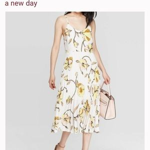 A New Day Floral Print Pleated Sun Dress